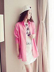 Women's Going out Cute Winter Coat,Solid Round Neck Long Sleeve Long Wool