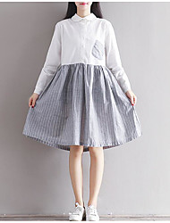 Women's Casual/Daily A Line Dress,Solid Striped Shirt Collar Above Knee Long Sleeve Cotton Spring Summer Mid Rise Inelastic Medium