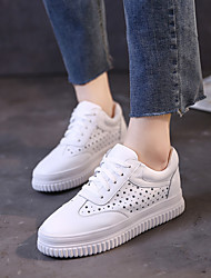 Women's Sneakers Comfort Nappa Leather Spring Outdoor Casual Creepers White 1in-1 3/4in