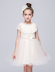 Princess Knee-length Flower Girl Dress - Tulle Netting Jewel with Bowknot Satin Bow Lace Pearl Detailing