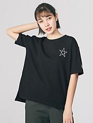 Damen Galaxis Einfach T-shirt,Rundhalsausschnitt Kurzarm Baumwolle