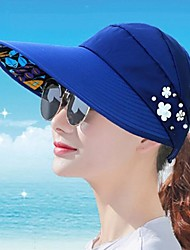Women's Foldable Visor Cap Anti-UV Protection Sun Hats Wide Brim Flower Beach Sun Hats