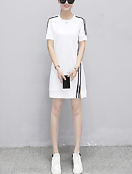 Damen T Shirt Kleid-Lässig/Alltäglich Übergröße Street Schick Gestreift Rundhalsausschnitt Übers Knie Kurzarm Baumwolle Polyester Sommer