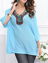 Women's Casual/Daily Simple T-shirt,Solid Print V Neck Long Sleeve Silk Cotton Bamboo Fiber