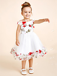 Princess Knee-length Flower Girl Dress - Cotton Chiffon Scoop with Appliques