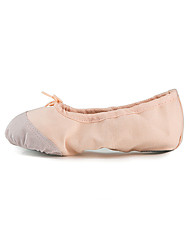 Women's Ballet Fabric Flats Indoor Flat Heel Nude Blushing Pink Red Black Under 1""