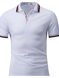 Для мужчин Повседневные Футболка Рубашечный воротник,Простое Однотонный С короткими рукавами,Хлопок