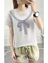 Damen Solide Retro Einfach T-shirt,Rundhalsausschnitt Kurzarm Baumwolle