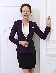Women's Business Office/Business Spring Summer Blazer Skirt Suits,Solid Round Neck Long Sleeve Micro-elastic