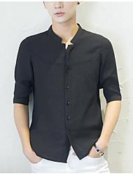 Masculino Camisa Social Casual Simples Verão,Sólido Algodão Colarinho de Camisa Manga Curta
