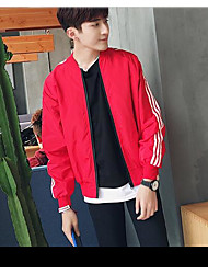 Men's Daily Modern/Comtemporary Summer Jacket,Striped Round Neck Long Sleeve Regular Others