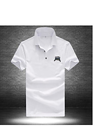 Men's Casual Simple Polo,Pattern Square Neck Short Sleeve Cotton