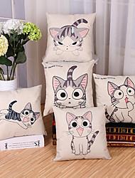 Set Of 5 Cartoon Cute Kitten Pattern Pillow Cover Fashion Cotton/Linen Pillow Case Home Decor