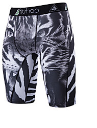 Men's Mid Rise Micro-elastic Shorts Pants,Simple Slim Animal Pattern Animal Print
