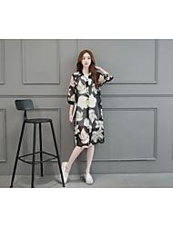Women's Casual Simple Summer Blouse,Floral Shirt Collar Short Sleeve Cotton