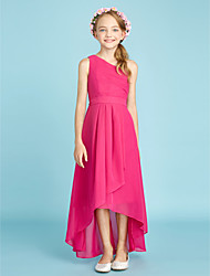 A-Line One Shoulder Asymmetrical Chiffon Junior Bridesmaid Dress with Bow(s) Sash / Ribbon Side Draping by LAN TING BRIDE®