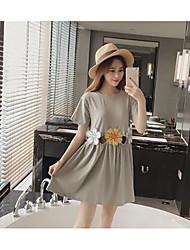 Damen A-Linie Kleid Solide Rundhalsausschnitt Mini Kurzarm Seide Sommer Tiefe Hüfthöhe Mikro-elastisch Semi-transparent