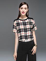 Damen Einfarbig Anspruchsvoll Lässig/Alltäglich T-shirt,Rundhalsausschnitt Kurzarm Seide