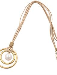 Fashion Women Trendy Velvet Double Circle Metal Shell Pearl Pendant Multi Row Velvet Chain Necklace