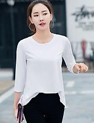 Damen Solide Einfach Normal T-shirt,Rundhalsausschnitt 3/4 Ärmel Seide