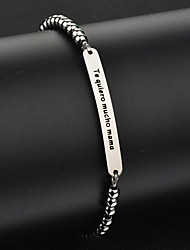 Custom Engraved Name Balls Bead Bracelet Bangles Stainless Steel ID Personalized Logo Men Jewelry Letters Bracelets Women Gifts