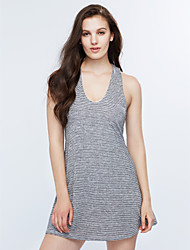 Women's Fine Stripe|Cut Out Going out Street chic A Line Dress,Striped V Neck Mini Sleeveless Gray Others Summer