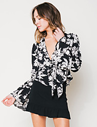 Women's Going out Sexy Blouse,Floral V Neck Long Sleeve Silk