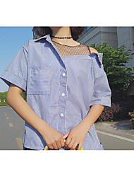 Damen Gestreift Retro T-shirt,Hemdkragen Sommer Kurzarm Baumwolle Mittel