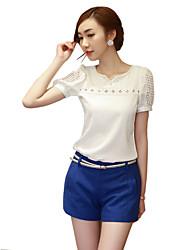 Женский На каждый день Все сезоны Блуза V-образный вырез,Простое Однотонный Белый С короткими рукавами,Полиэстер,Тонкая
