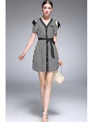 Dámské A Line Šaty Proužky,Krátký rukáv Do V Nad kolena Polyester taft Jaro Léto Mid Rise Lehce elastické Tenké