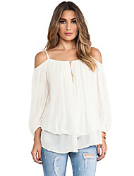 Women's Going out Club Sexy Street chic Summer Shirt,Geometric Halter Rayon Opaque Thin