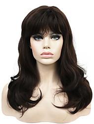Perruques naturelles Synthétique Sans bonnet Perruques Long Châtain Cheveux