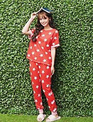 Pijamas femininas, terno padrão de estrelas clássico, confortável, casual, casa, sleepwear, conjunto