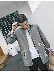 Men's Daily Casual Spring/Fall Jacket,Solid Embroidery Shirt Collar Long Sleeve Long Polyester