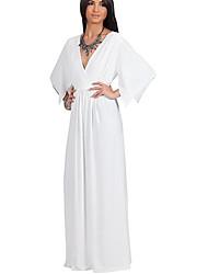 Tunique Robe Femme SortieCouleur Pleine Col en V Asymétrique Manches ¾ Polyester Eté Taille Normale Micro-élastique Moyen