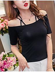 Tee-shirt Femme,Couleur Pleine simple Eté Sans Manches Epaules Dénudées Coton Fin