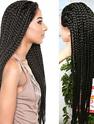 32inch Black braided wig lace frontal Micro synthetic box braids wigs heat resistant fiber long synthetic wigs