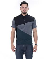 Для мужчин Повседневные Лето Polo Рубашечный воротник,Простое Пэчворк С короткими рукавами,10 % - шерсть, 30% - целлюлоза, 60% -