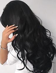10-26 Inch Natural Wavy Wig Human Virgin Hair 130% Density Natural Black Color  For Black Women