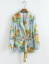 Mujer Diseño Casual Fiesta/Cóctel Primavera/Otoño Chaqueta,Cuello Camisero Estampado Manga Larga Algodón Regular