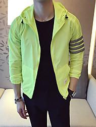 Men's Daily Date Modern/Comtemporary Cross-Seasons Summer Jacket,Solid Hooded Long Sleeve Regular Polyester