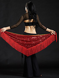 Belly Dance Hip Scarves Women's Performance Polyester Sequin Tassel 1 Piece Hip Scarf