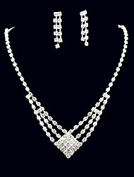 Jewelry Set Rhinestone Square Rhinestone Alloy Square 1 Necklace 1 Pair of Earrings For Wedding Party Anniversary Birthday
