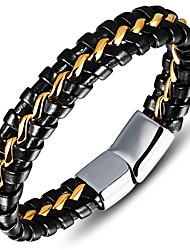 Homme Bracelets en cuir Mode Vintage Style Punk Hip-Hop Pierre bijoux de fantaisie Cuir Acier inoxydable Forme de Cercle Forme Ronde