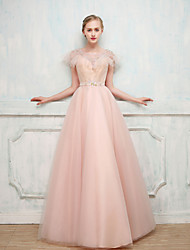 Ball Gown Illusion Neckline Floor Length Satin Tulle Cocktail Party Formal Evening Dress with Beading by MMHY