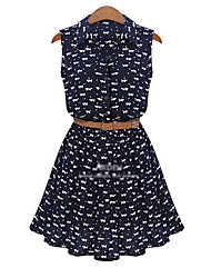 Women's Going out Casual/Daily Loose Dress,Pattern Cat V Neck Above Knee Sleeveless Other Summer Mid Rise Micro-elastic Medium