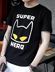 Tee-shirt Homme,Couleur Pleine Imprimé Bureau/Carrière Autre Décontracté Vintage Chic de Rue Manches Courtes Col Arrondi Autres