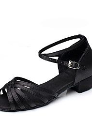 "Women's Modern Satin Flats Practice Low Heel Blue Black Under 1"" Customizable"