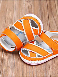 Baby Flats First Walkers Cowhide Spring Fall Casual Outdoor Walking First Walkers Magic Tape Low Heel Orange Ruby Blue Flat