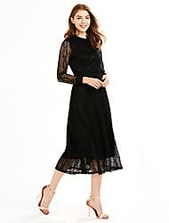 Mujer Encaje Vestido Trabajo / Noche Vintage / Chic de Calle,Un Color Escote Chino Midi Manga Larga Rosa / Rojo / Blanco / Negro Poliéster